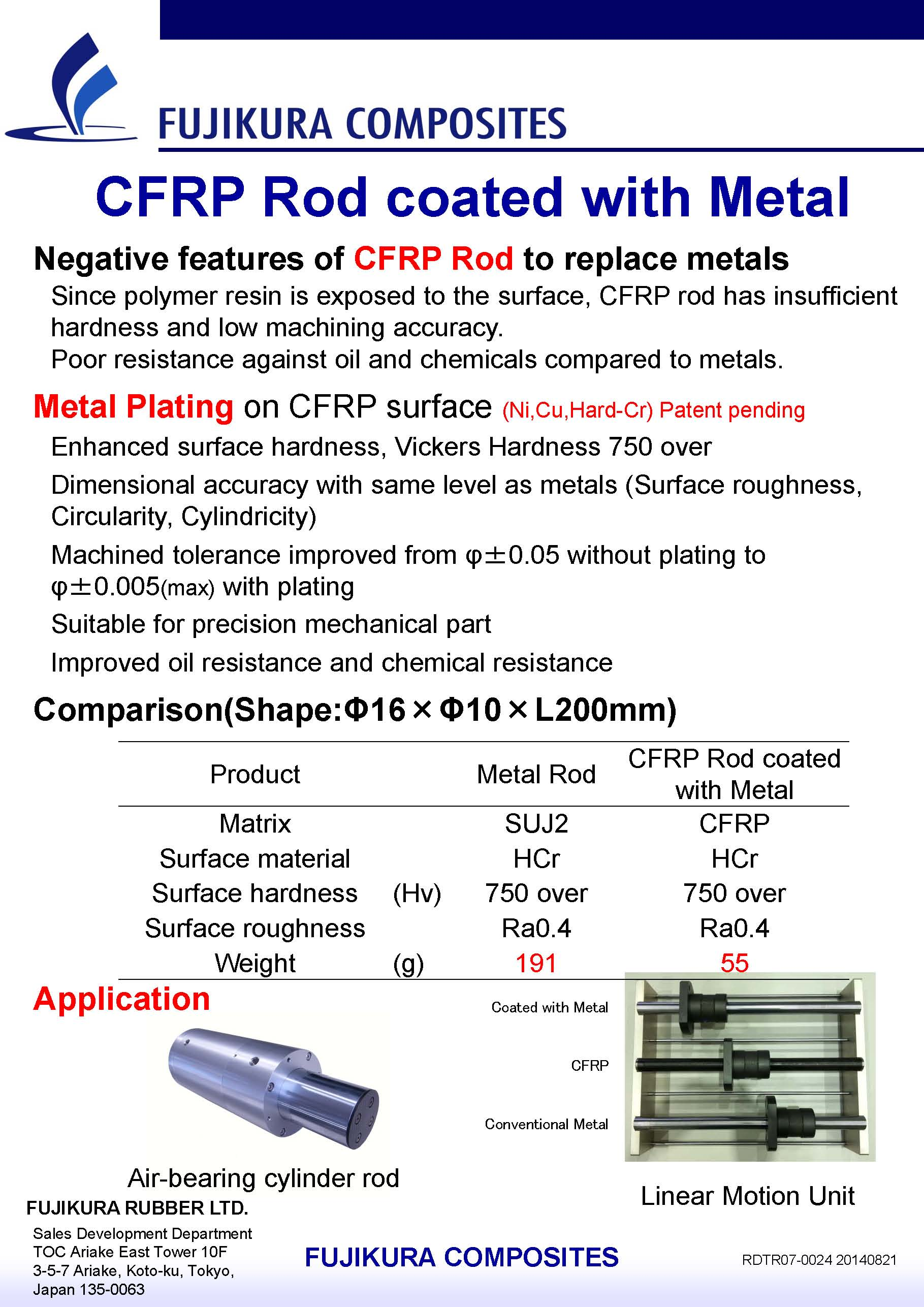 CFRP Rod coated with Metal
